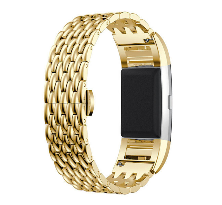 Strap-it® Fitbit Charge 3 stalen draak band (goud)