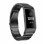 Strap-it® Fitbit Charge 3 metalen bandje (zwart)