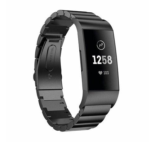 Strap-it® Strap-it® Fitbit Charge 3 metalen bandje (zwart)