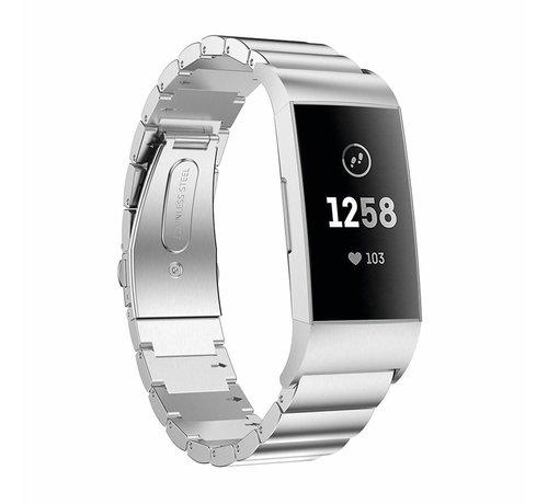 Strap-it® Strap-it® Fitbit Charge 3 metalen bandje (zilver)