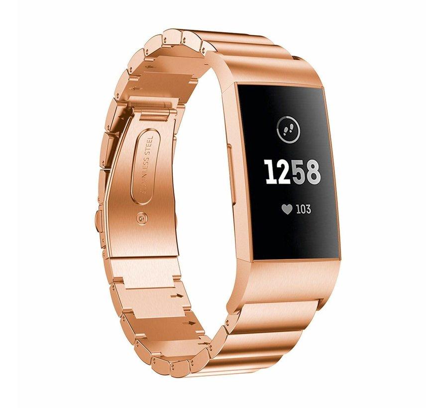 Strap-it® Fitbit Charge 3 metalen bandje (rosé goud)