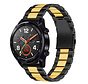 Strap-it® Huawei Watch GT stalen band (zwart/goud)