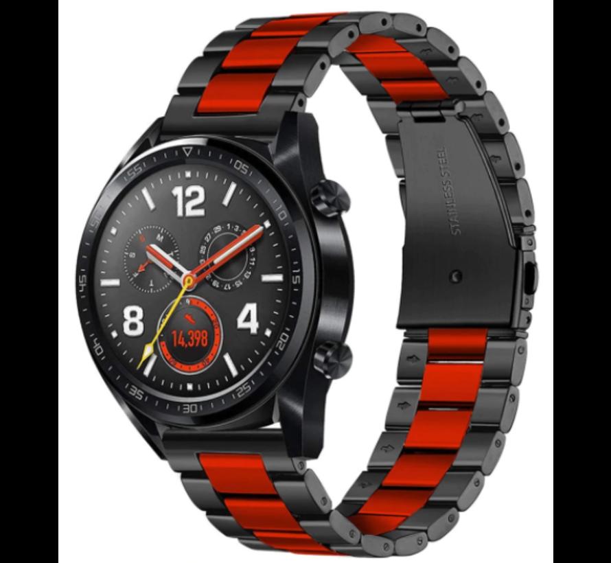 Strap-it® Huawei Watch GT stalen band (zwart/rood)