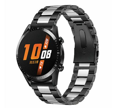 Strap-it® Strap-it® Huawei Watch GT stalen band (zwart/zilver)