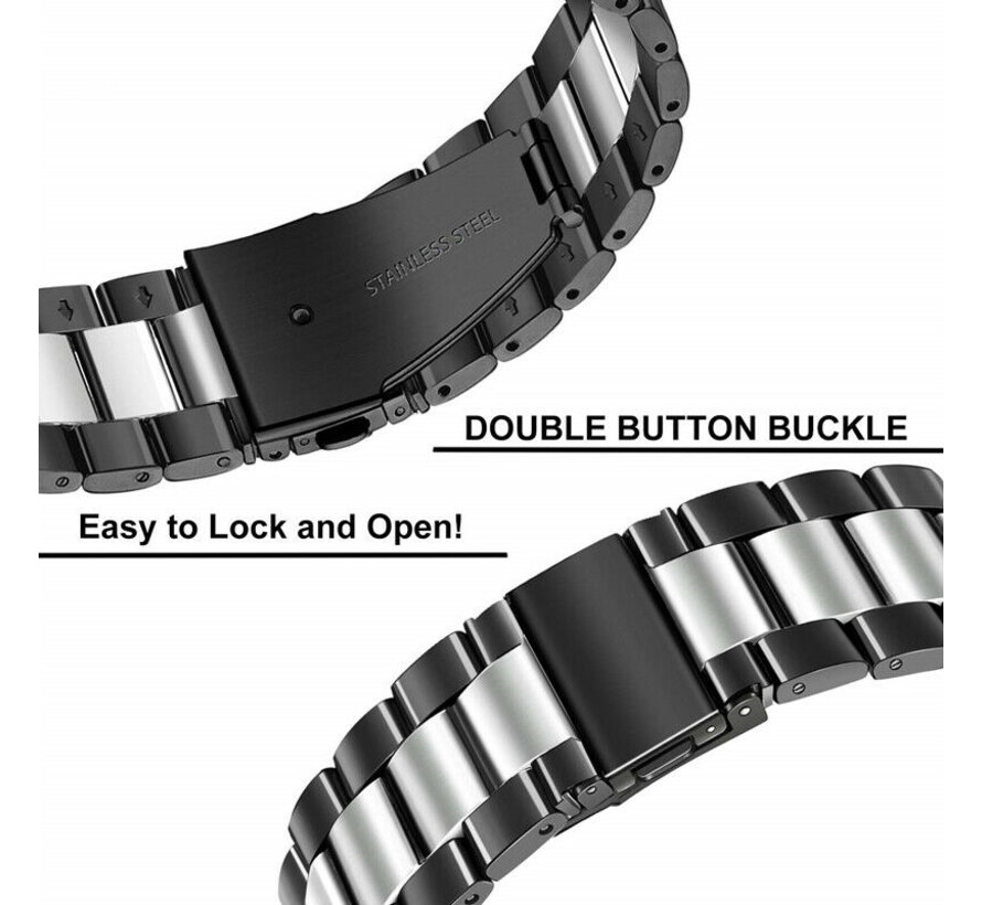 Strap-it® Huawei Watch GT stalen band (zwart/zilver)