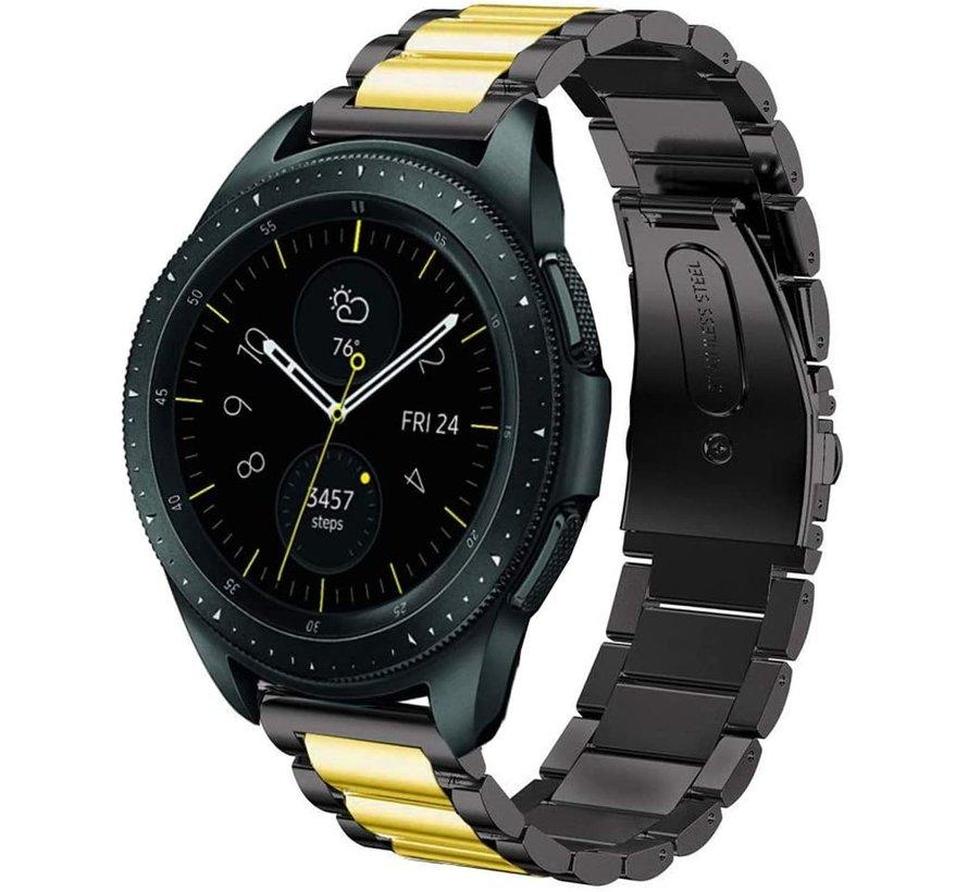 Strap-it® Samsung Galaxy Watch stalen band 41mm / 42mm (zwart/goud)