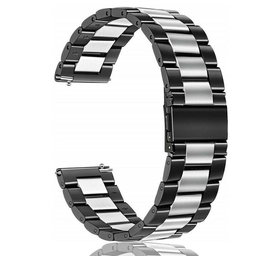 Strap-it® Samsung Galaxy Watch stalen band 41mm / 42mm (zwart/zilver)