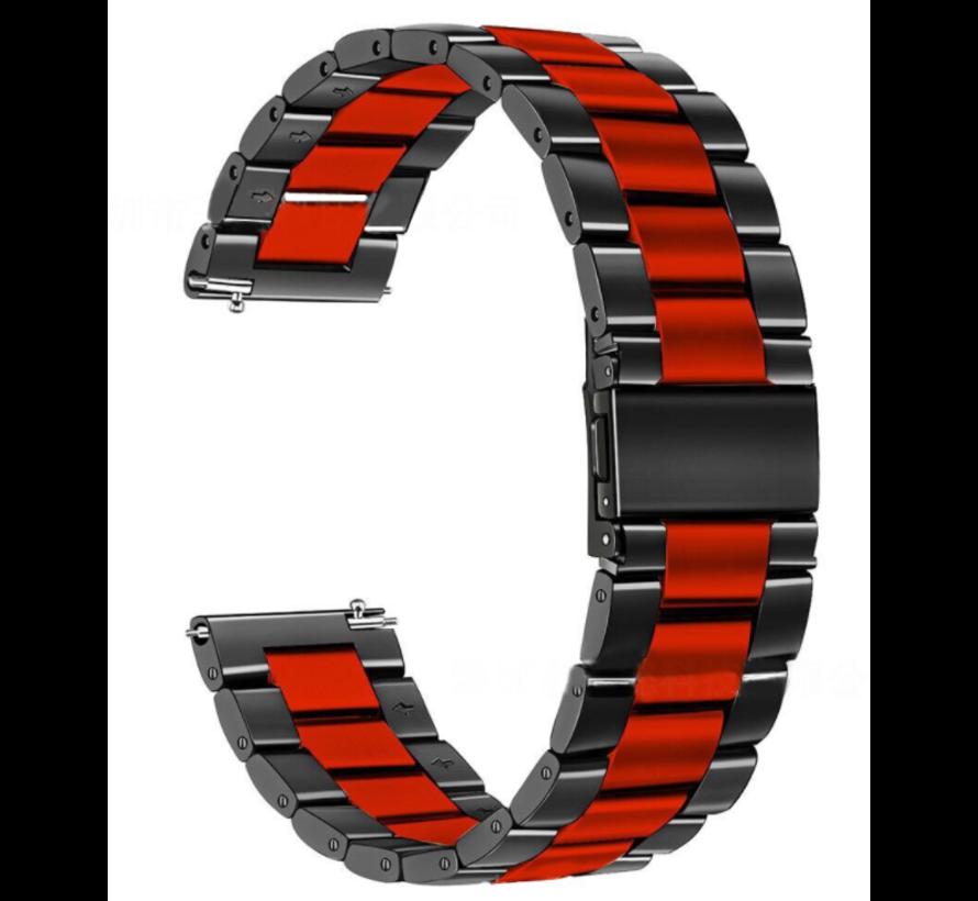 Strap-it® Samsung Galaxy Watch stalen band 41mm / 42mm (zwart/rood)