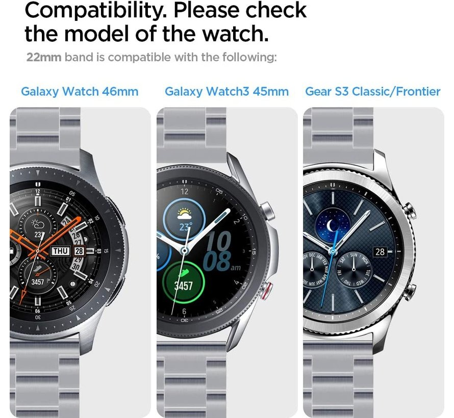 Strap-it® Samsung Galaxy Watch stalen band 45mm / 46mm (zwart/zilver)