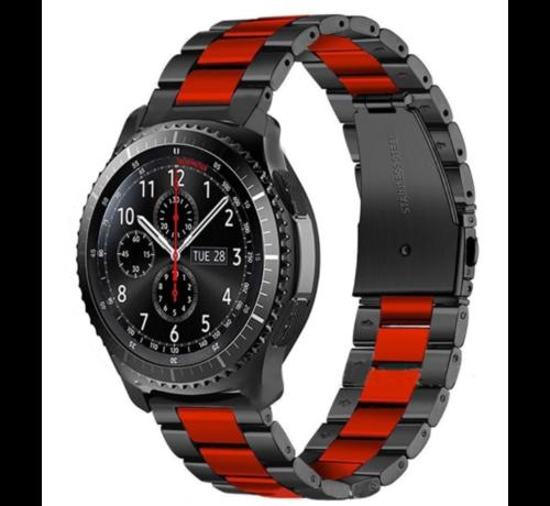 Strap-it® Strap-it® Samsung Galaxy Watch stalen band 45mm / 46mm (zwart/rood)
