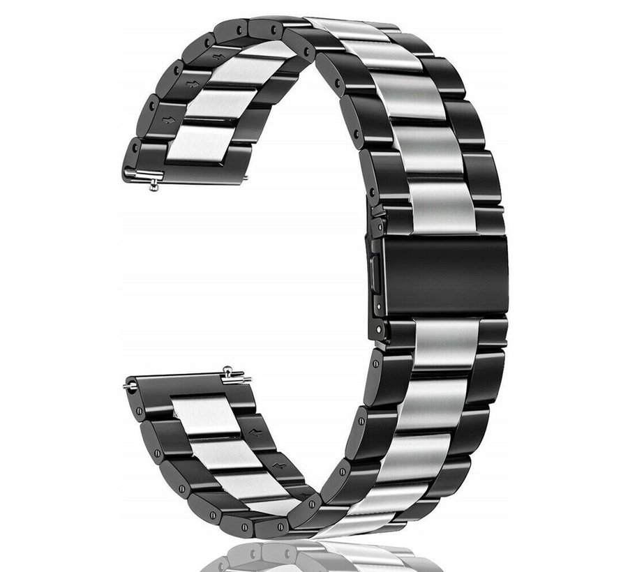 Strap-it® Garmin Vivoactive 3 stalen band (zwart/zilver)