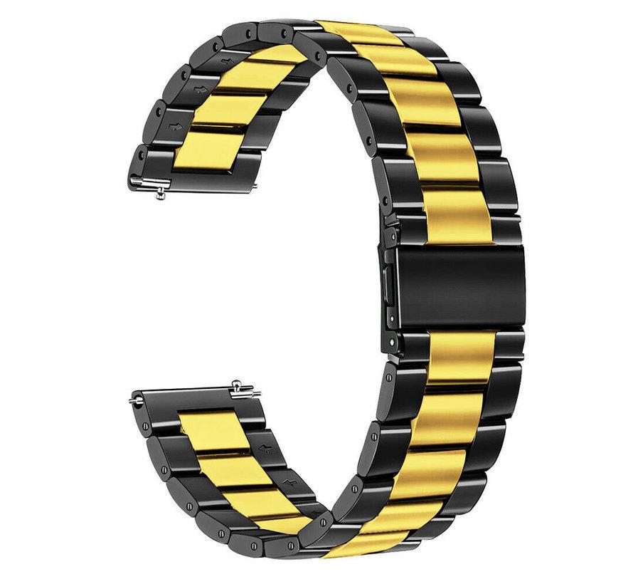 Strap-it® Garmin Venu stalen band (zwart/goud)