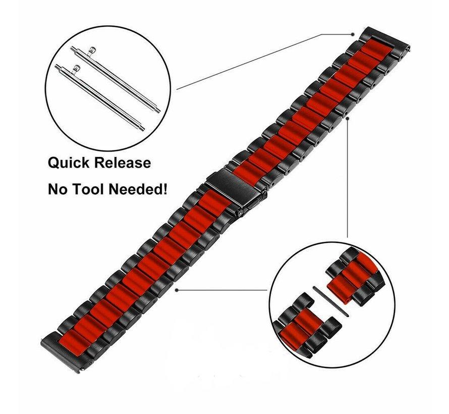 Strap-it® Garmin Venu stalen band (zwart/rood)