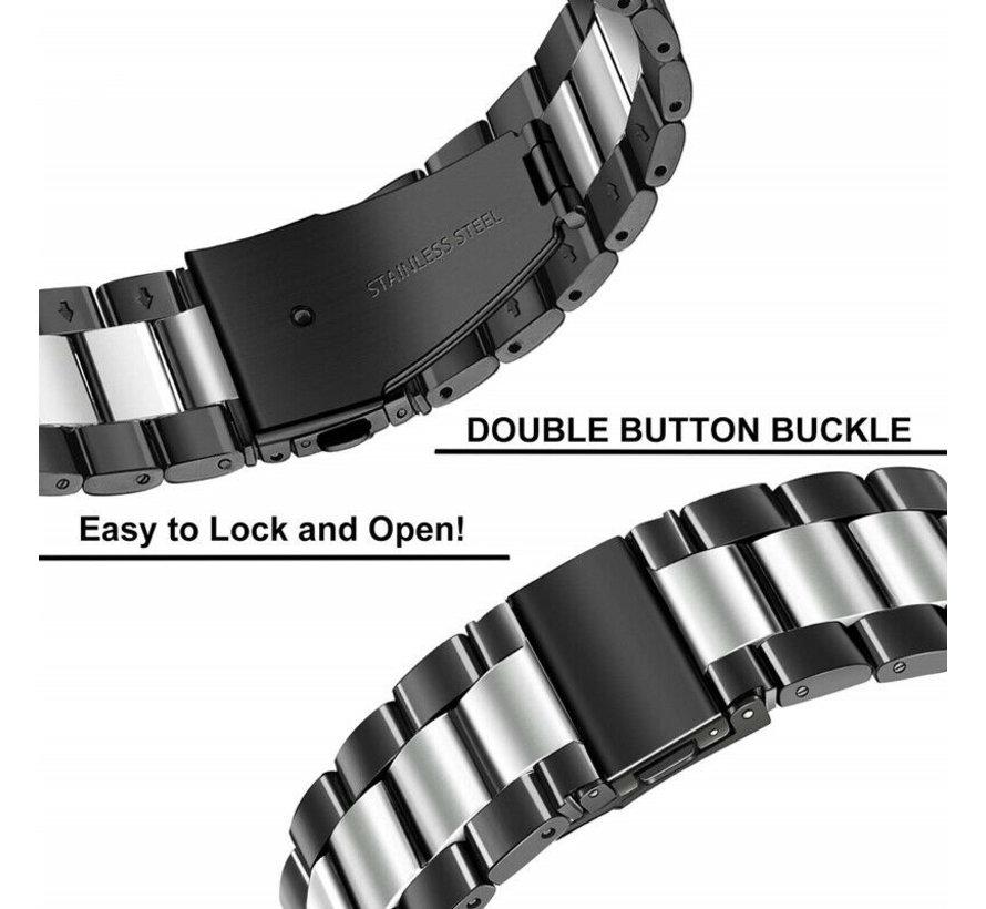 Strap-it® Garmin Vivoactive 4 stalen band - 45mm - zwart/zilver