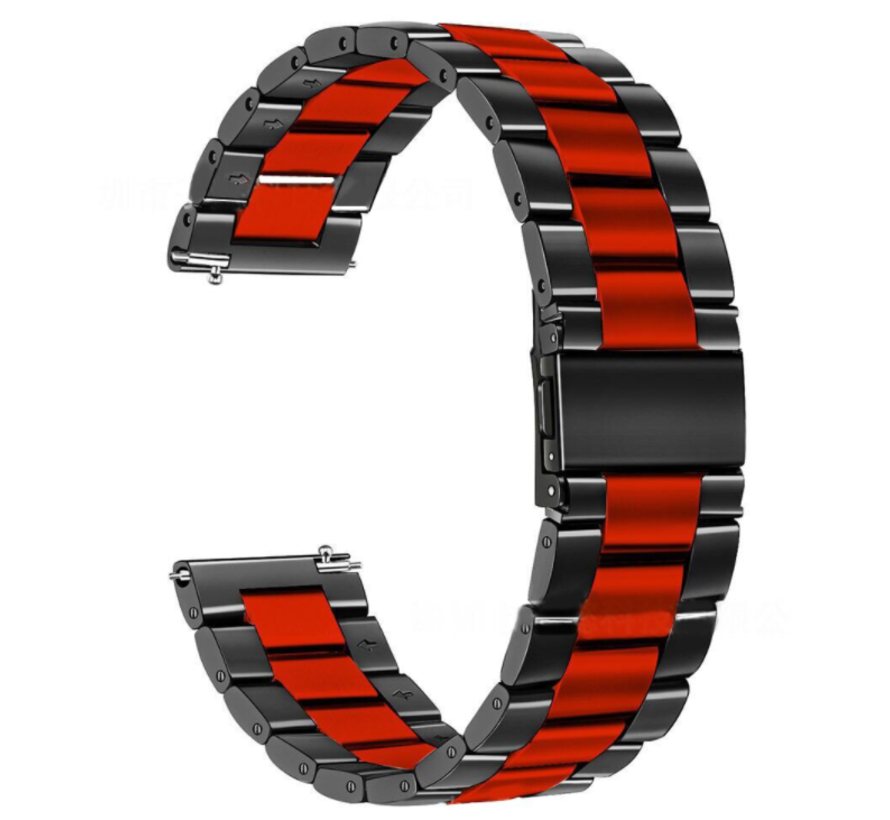Strap-it® Garmin Vivoactive 4 stalen band - 45mm - zwart/rood