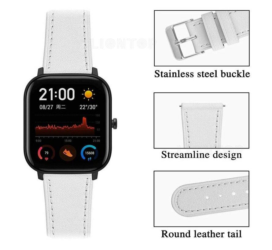 Strap-it® Xiaomi Amazfit GTS bandje leer (wit)