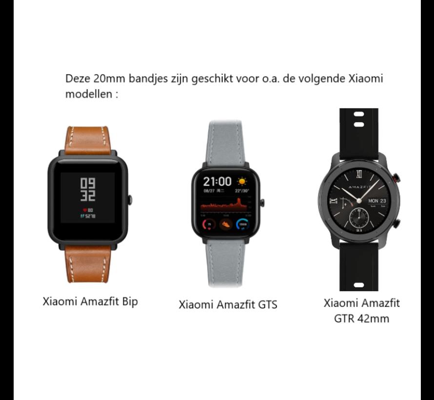 Strap-it® Xiaomi Amazfit GTS bandje leer (grijs)