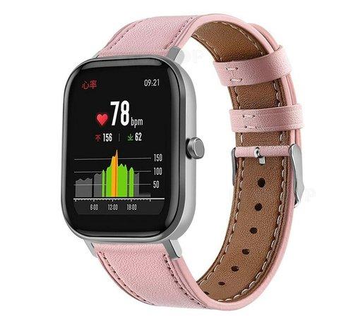 Strap-it® Strap-it® Xiaomi Amazfit GTS bandje leer (roze)