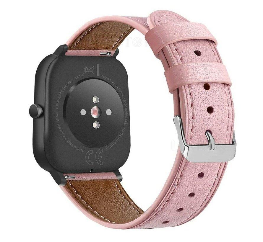 Strap-it® Xiaomi Amazfit GTS bandje leer (roze)