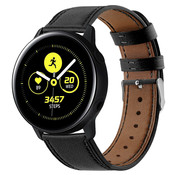Strap-it® Samsung Galaxy Watch Active bandje leer (strak-zwart)