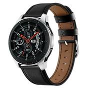 Strap-it® Samsung Galaxy Watch 46mm bandje leer (strak-zwart)