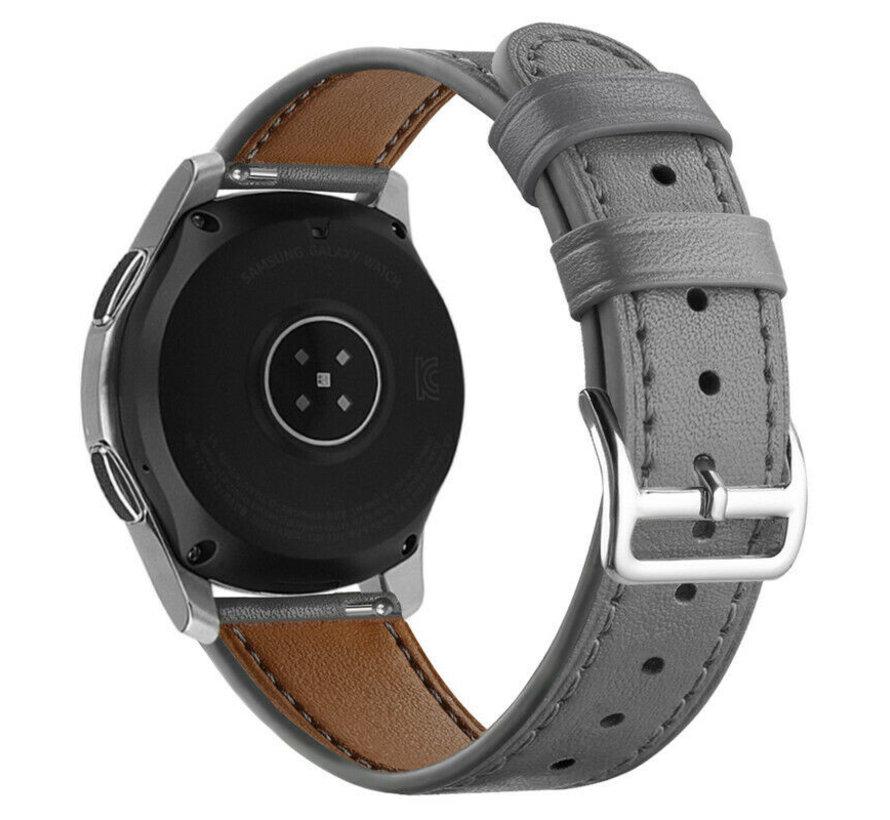 Strap-it® Samsung Galaxy Watch 46mm bandje leer (grijs)