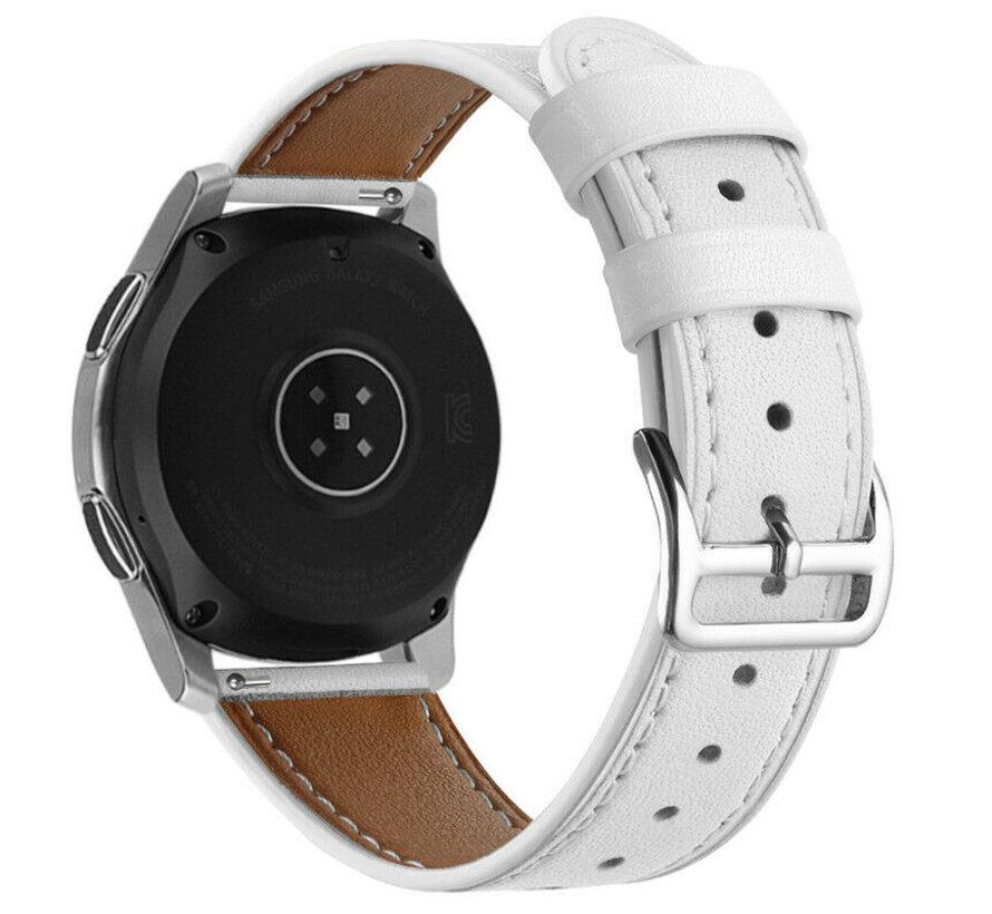 Strap-it® Samsung Galaxy Watch 46mm bandje leer (wit)