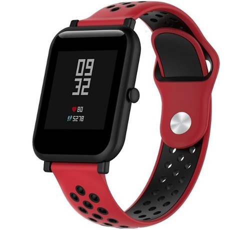 Strap-it® Strap-it® Xiaomi Amazfit Bip sport band (rood/zwart)