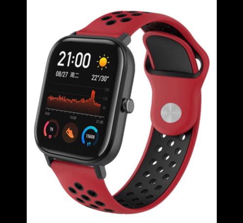 Strap-it® Strap-it® Xiaomi Amazfit GTS sport band (rood/zwart)