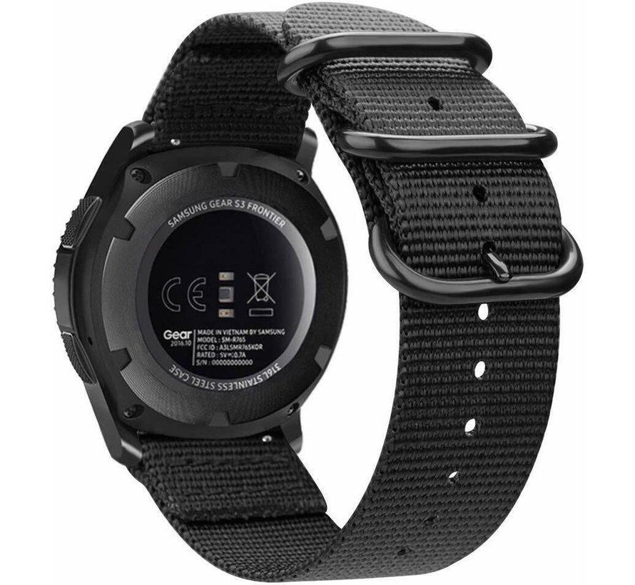 Strap-it® Garmin Vivoactive 3 nylon gesp band (zwart)