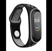 Strap-it® Xiaomi Mi band 3 /4 sport bandje (zwart/grijs)