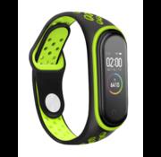 Strap-it® Xiaomi Mi band 3 /4 sport bandje (zwart/groen)