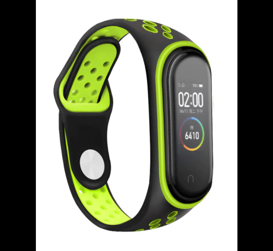 Strap-it® Xiaomi Mi band 3 -/4 sport bandje (zwart/groen)