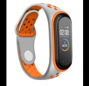 Strap-it® Xiaomi Mi band 3 /4 sport bandje (grijs/oranje)