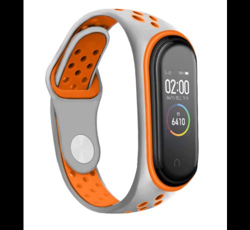Strap-it® Strap-it® Xiaomi Mi band 3 -/4 sport bandje (grijs/oranje)