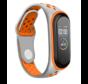Strap-it® Xiaomi Mi band 3 -/4 sport bandje (grijs/oranje)