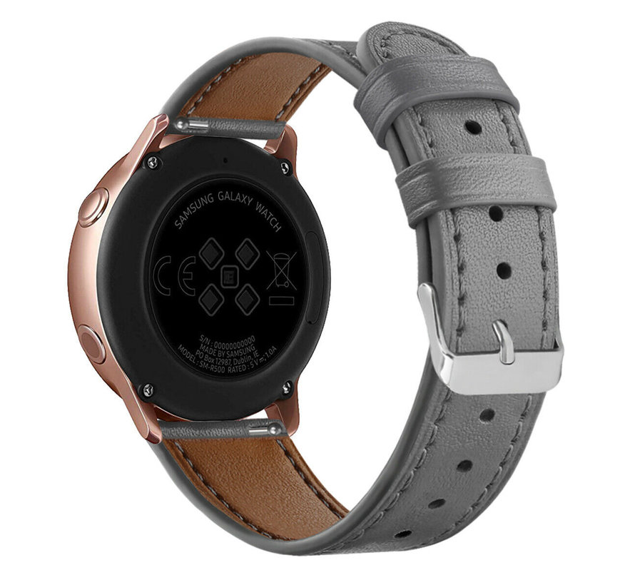 Strap-it® Samsung Galaxy Watch 41mm/42mm bandje leer (grijs)
