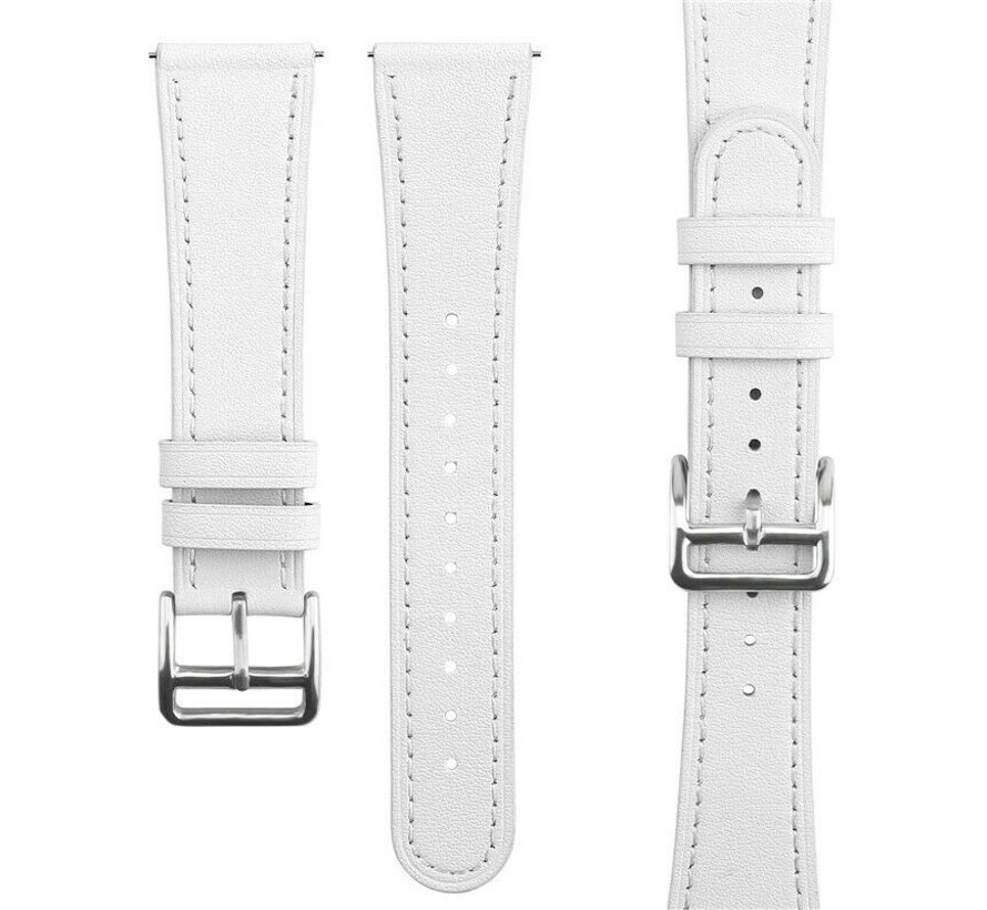 Strap-it® Samsung Galaxy Watch 41mm/42mm bandje leer (wit)