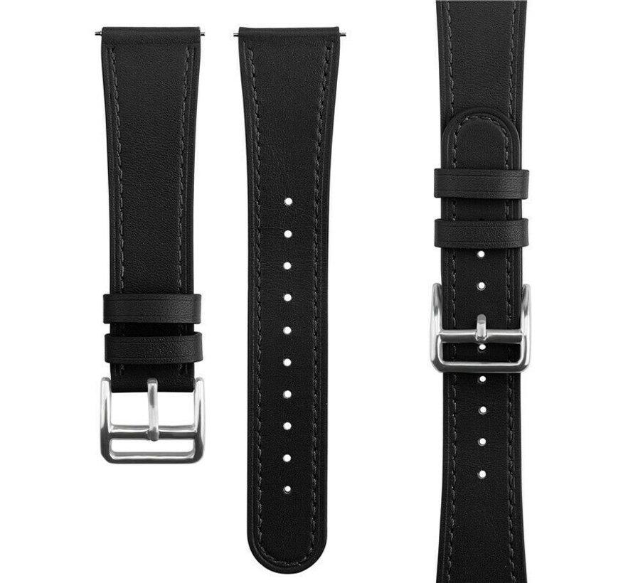 Strap-it® Garmin Vivoactive 3 bandje leer (strak-zwart)