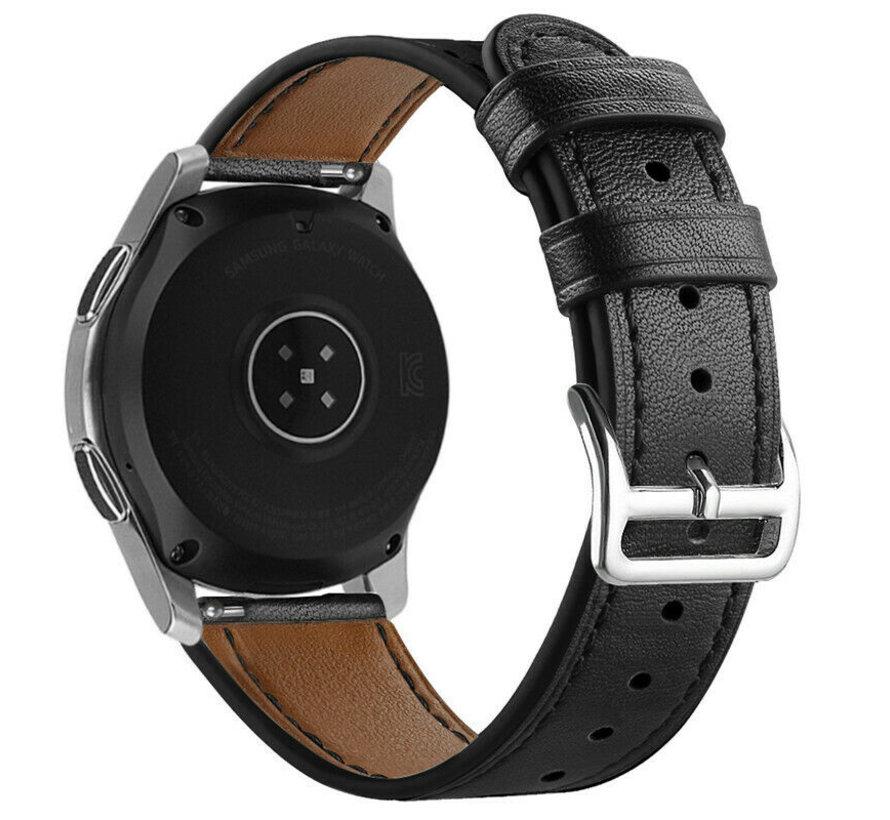 Strap-it® Garmin Vivoactive 4 bandje leer - 45mm - strak-zwart
