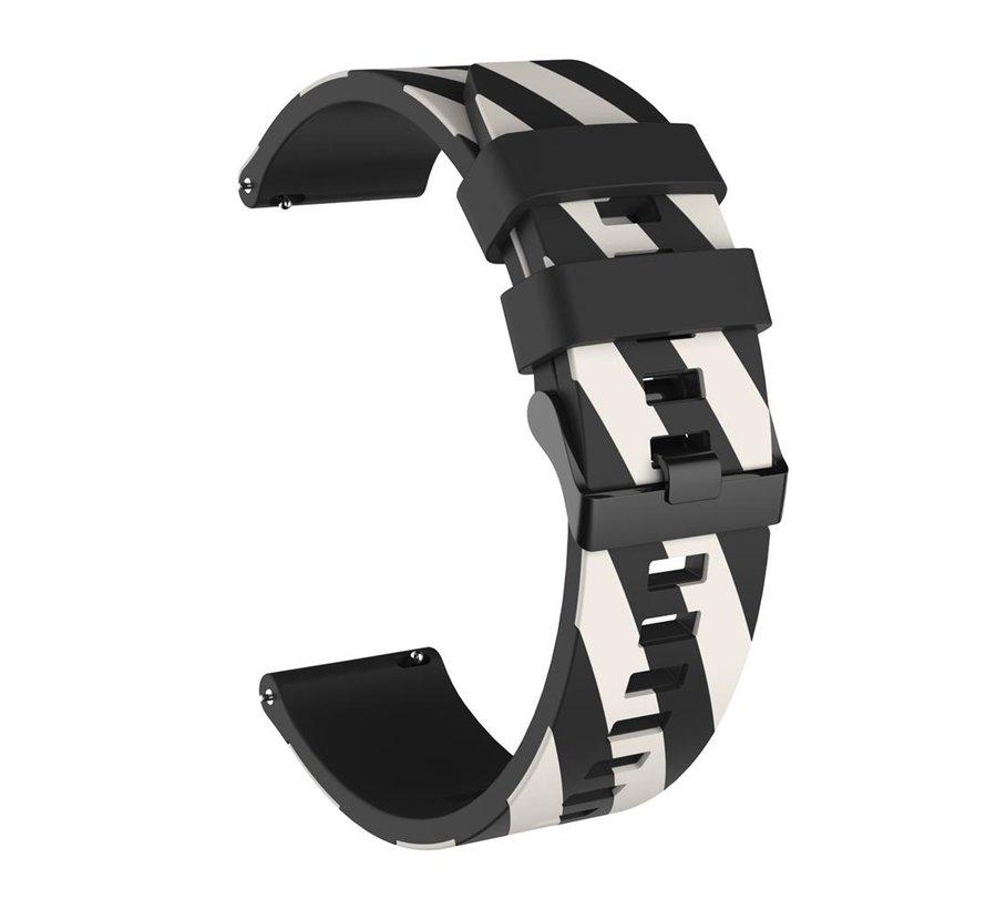 Strap-it® Samsung Galaxy Watch gestreept siliconen bandje 41mm / 42mm (zwart/wit)