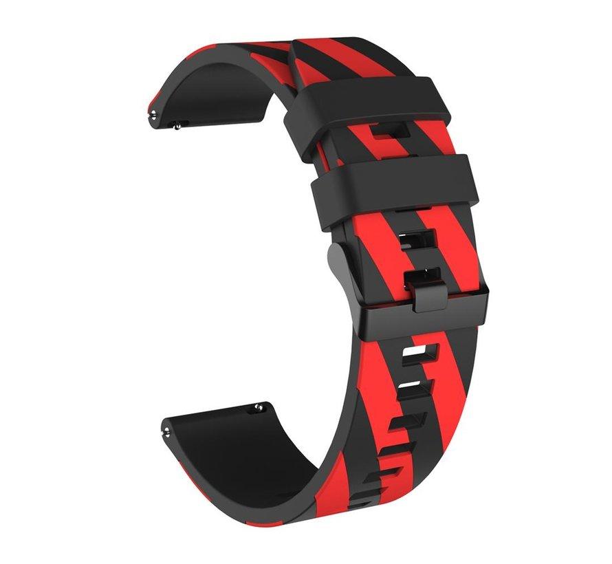 Strap-it® Samsung Galaxy Watch gestreept siliconen bandje 45mm / 46mm (zwart/rood)