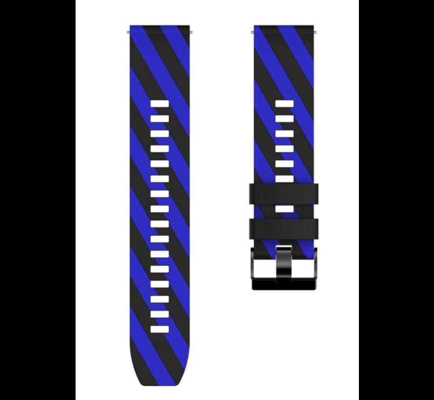 Strap-it® Samsung Galaxy Watch gestreept siliconen bandje 45mm / 46mm (zwart/blauw)