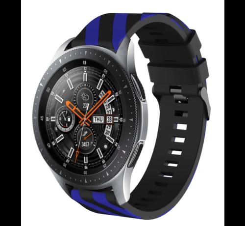 Strap-it® Strap-it® Samsung Galaxy Watch gestreept siliconen bandje 45mm / 46mm (zwart/blauw)