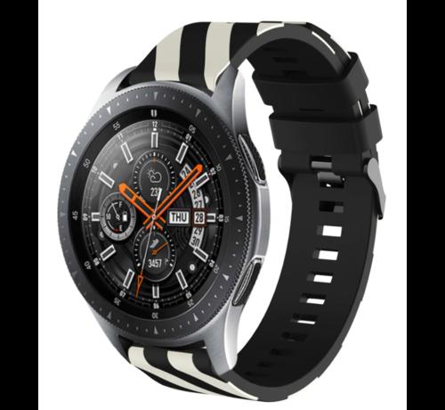 Strap-it® Strap-it® Samsung Galaxy Watch gestreept siliconen bandje 45mm / 46mm (zwart/wit)
