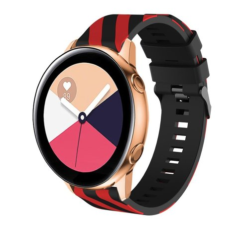 Strap-it® Strap-it® Samsung Galaxy Watch Active gestreept siliconen bandje (zwart/rood)