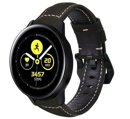 Strap-it® Strap-it® Samsung Galaxy Watch active leren bandje (zwart)