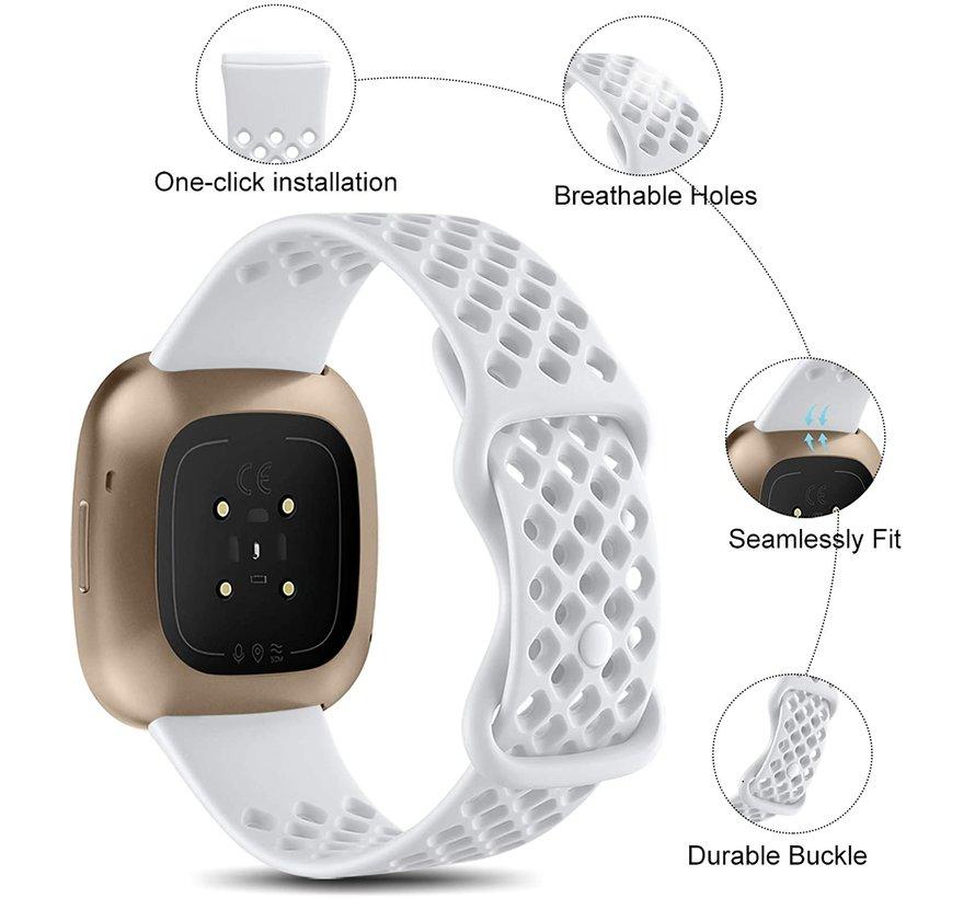 Strap-it® Fitbit Sense siliconen bandje met gaatjes (wit)