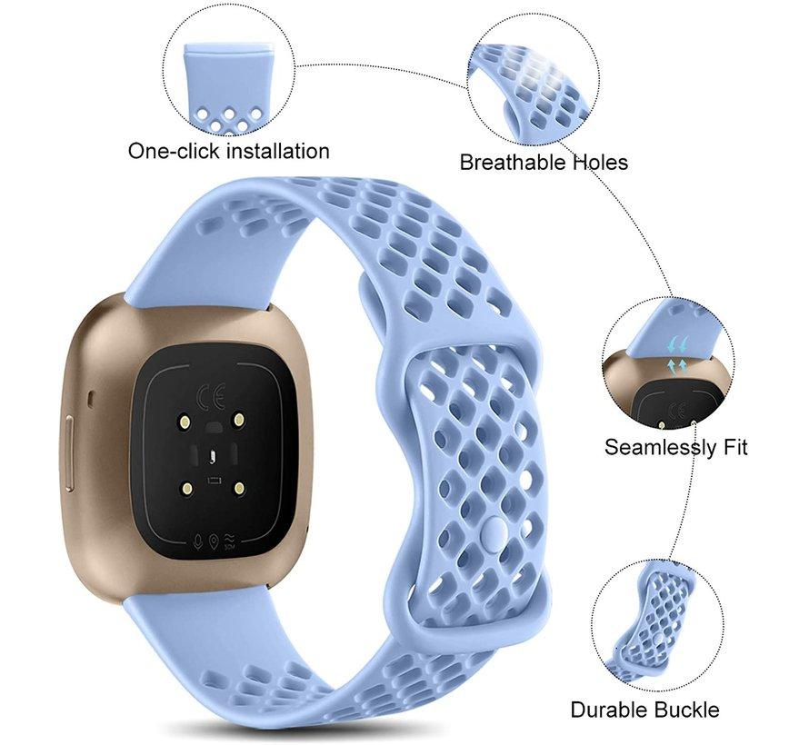 Strap-it® Fitbit Sense siliconen bandje met gaatjes (lila)