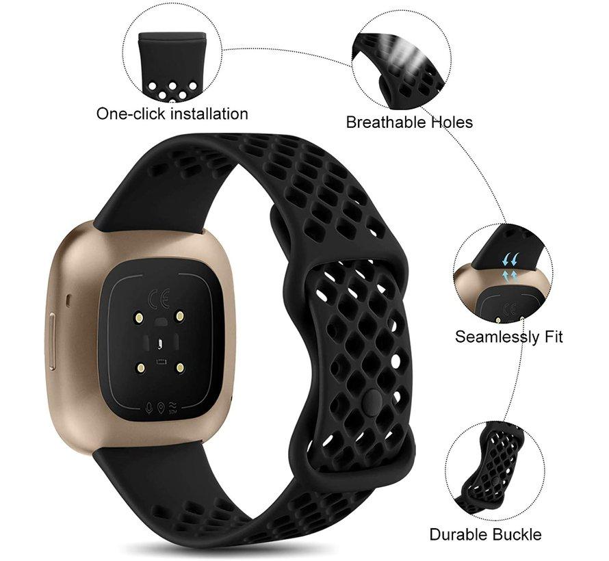Strap-it® Fitbit Sense siliconen bandje met gaatjes (zwart)